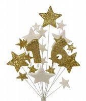 Number age 16th birthday cake topper decoration in gold and white - free postage